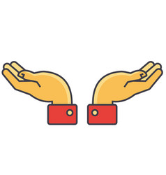 hands support concept line icon editable vector image