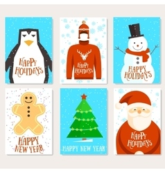 Happy holidays cards template vector image