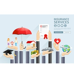 Insurance hands services vector