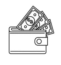 Line wallet with dolars bills inside vector