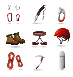Mountain climbing icons set vector image