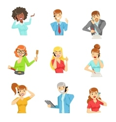 People Speaking On The Phone Set Of vector image vector image