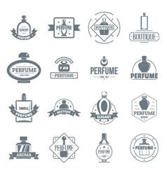 perfume bottles logo icons set simple style vector image