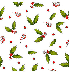 seamless christmas pattern with holly berry vector image vector image