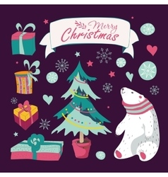 Set of Christmas and New Years graphic elements vector image
