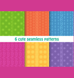 set of cute bright seamless patterns abstract vector image