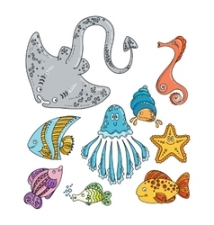 Set of cute doodle sea creatures vector image vector image