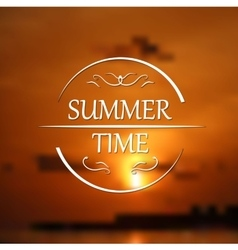 Summer holidays poster with sunset blurred vector image vector image