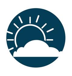 summer sun with cloud scene vector image