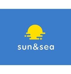 Sun sea travel logo universal modern vector