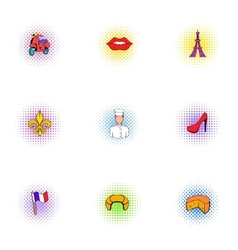 Tourism in France icons set pop-art style vector image