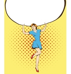 Woman holds blank white paper poster pop art vector