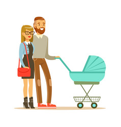 young couple walking with they newborn baby in vector image vector image