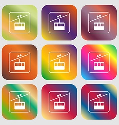 Cable car line sign icon nine buttons with bright vector