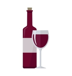 Bottle of red wine and glass isolated on white vector