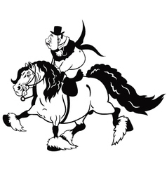 Cartoon rider on heavy horse black white vector