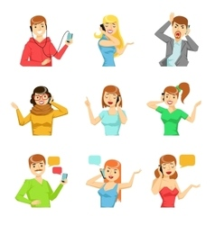 People Speaking On The Phone Collection Of vector image