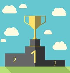 Golden goblet on pedestal vector