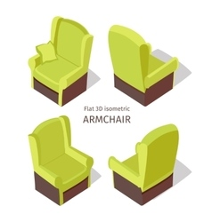 Green armchair in isometric vector