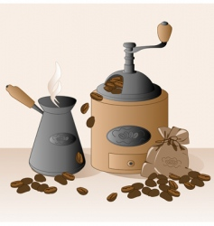 Coffee grinder and coffee beans vector
