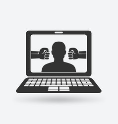 Cyberbullying concept man victim of online vector