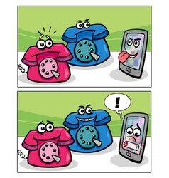 Old phones and smart phone comics vector