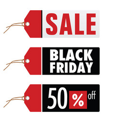 Black friday and sale on tag vector