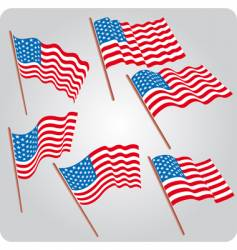 Six usa flags vector