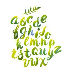 Hand drawn watercolor alphabet made with vector