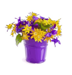 Small bouquet with meadow flowers in a bucket vector