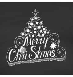 Merry christmas lettering on chalkboard background vector