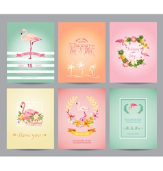 Vintage flamingo card set - for birthday wedding vector