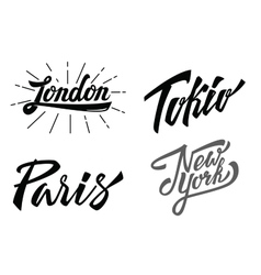 Different city names hand-lettering vector