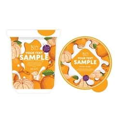 Mandarin yogurt packaging design template vector