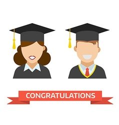 Graduation man and woman icon vector