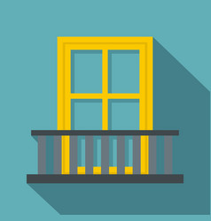 Balcony with a yellow window icon flat style vector