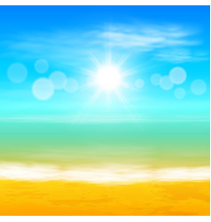 beach and tropical sea with bright sun vector image vector image