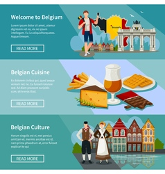 Belgium horizontal banners set flat style vector