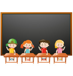 blackboard background with kids in classroom vector image