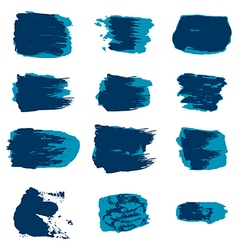 Brush stroke blue paint abstract white background vector