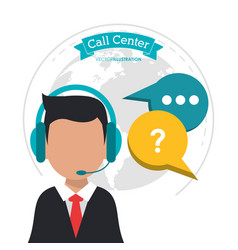 call center man business bubble speech vector image