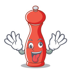 crazy pepper mill character cartoon vector image