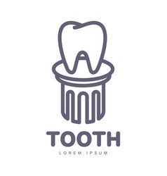 Dental care logo template with tooth standing on vector