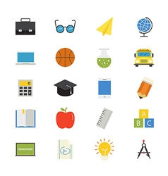 Education and School Flat Icons color vector image vector image