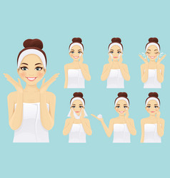 Face care woman set vector