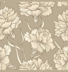 floral retro seamless pattern flower engraved vector image vector image