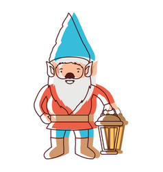 gnome with hand lamp in watercolor silhouette vector image