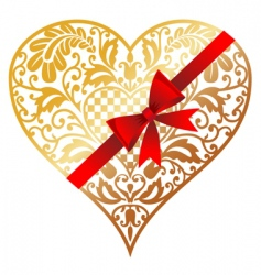 gold heart with bow vector image