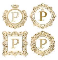 Golden letter p vintage monograms set heraldic vector