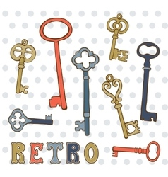 Hand drawn vintage keys collection vector image